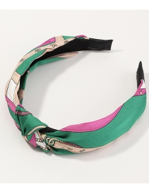 Fashion Green Splicing Cross Knotted Printed Wide-brimmed Hair Band