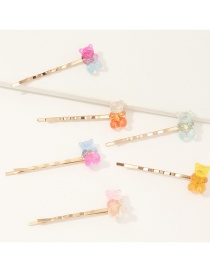 Fashion Color Mixing Transparent Gradient Color Bear Alloy Hairpin