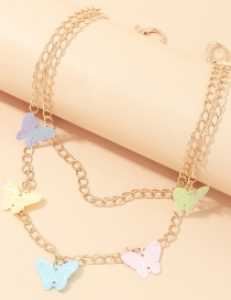 Fashion Golden Sequin Butterfly Contrast Color Alloy Multi-layer Waist Chain