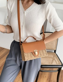 Fashion Brown Straw Stitching Contrast Lock Shoulder Bag