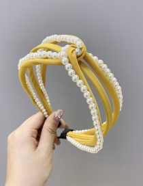 Fashion Yellow Multiple Cross-pearl Hollow Hollow Hair Bands In The Middle