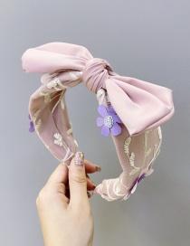 Fashion Pink Mesh Lace Flower Handmade Bow Knot Headband