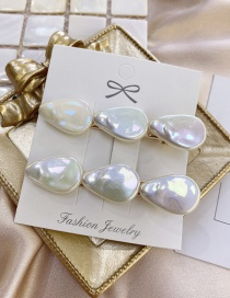 Fashion White Pair Shell Pearl Drop-shaped Alloy Hairpin