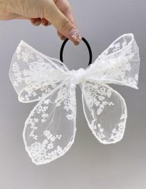 Fashion White Lace Big Bow High Elastic Hair Rope