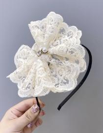 Fashion Beige Lace Pearl Bow Headband