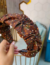 Fashion Coffee Color Small Floral Pleated Wide-brimmed Fabric Headband