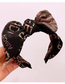 Fashion Black Silk Print Letters Stitching Stripe Wide-brimmed Bow Tie Headband