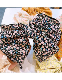 Fashion Black Floral Floral Print Three-layer Large Bow Hairpin