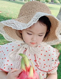 Fashion Khaki One Size 2 To 7 Years Old Folded Straw Lace Tether Children Sun Hat