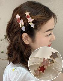 Fashion Star Hairpin Alloy Acrylic Pentagram Love Heart Contrast Hairpin