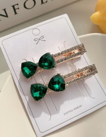 Fashion Green Diamond Diamond Cut Butterfly Combined With Gold Hollow Hairpin Set