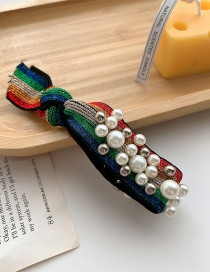 Fashion Rainbow Pearl Stripe Round Knotted Wide-edge Hair Rope