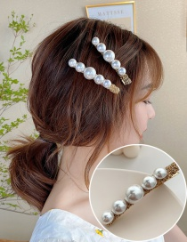 Fashion Golden Imitation Pearl Imitated Pearl Round Alloy Hairpin