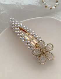Fashion White Imitation Pearl Flower Crystal Braided Hollow Alloy Hairpin