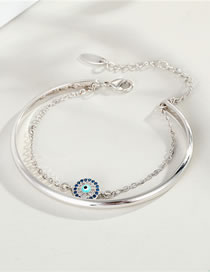 Fashion Silver Zircon Eyes With Gold-plated Diamond-set Chain Opening Bracelet