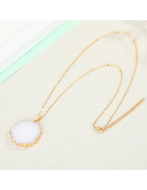Fashion Necklace 30cm Imitation Natural Stone Resin Round Alloy Necklace Earrings