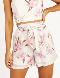 Fashion White Bamboo Flower Floral Print Shorts With Belt