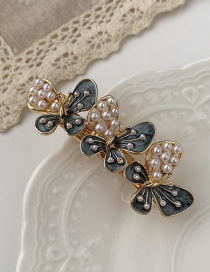 Fashion Black Butterfly Pearl Dropping Alloy Hollow Hair Clip