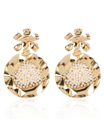 Fashion Golden Alloy Earrings With Pearl Flowers