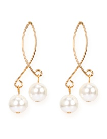Fashion Golden Pearl Cross Geometric Alloy Earrings