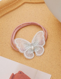 Fashion Pink Mesh Yarn Pearl Bow Hair Rope