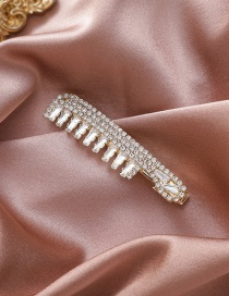 Fashion Golden Crystal Zircon Full Drill Comb Alloy Hair Clip