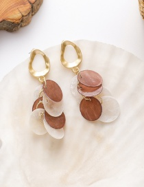 Fashion Color Mixing Stitching Contrasting Geometric Alloy Shell Earrings