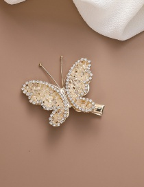 Fashion Beige Crystal Butterfly Alloy Hair Clip