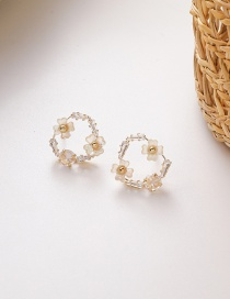 Fashion Love Section Shell Flower Zircon Love Triangle Earrings