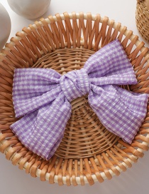 Fashion Checked Large Bow Tie Contrast Color Hairpin