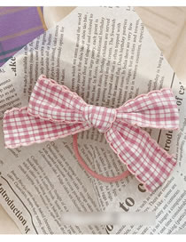 Fashion 【hairline】pink Bow Plaid Bow Fabric Hairpin Hairpin