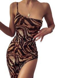 Fashion Khaki Slim-fit Tiger Dress With Split Neckline