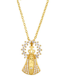 Fashion Hollow Gold Crown Cross Gold Plated And Diamond Necklace