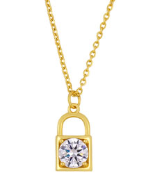 Fashion White Gold-plated Necklace With Zircon Lock