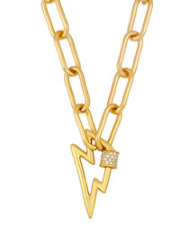 Fashion Lightning Thick Chain Diamond Love Hollow Necklace