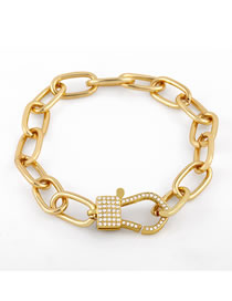 Fashion Key Chain Bracelet Fish Chain Lobster Bracelet With Diamond Thick Chain