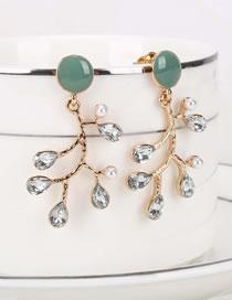 Fashion Green Drop Oil Pearl Crystal Branch Alloy Earrings