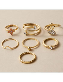 Fashion Gold Color V-shaped Zircon Ring Set With Dripping Flowers And Diamonds