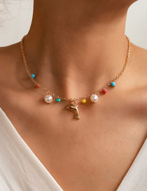 Fashion Color Mixing Dolphin Rice Pearl Alloy Pearl Necklace