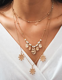 Fashion Gold Color Multi-layer Rice Bead Necklace