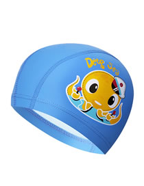 Fashion Blue Octopus Childrens Swimming Cap With Car Dolphin Animal Print