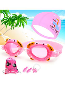 Fashion Pink Crab + Pu Cap Four Piece Set Crab Anti-fog Waterproof Childrens Swimming Goggles Animal Print Swimming Cap