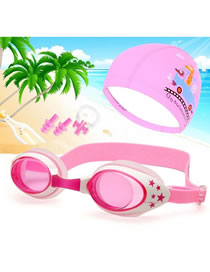 Fashion Pink Star Mirror + Pink Pu Cap Three-piece Set Crab Star Anti-fog Waterproof Childrens Swimming Goggles Animal Print Swimming Cap