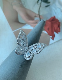 Fashion Ring Diamond Three-dimensional Butterfly Alloy Hollow Necklace Earrings Ring