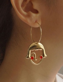 Fashion Red Dropped Emoji Hollow Alloy Earrings