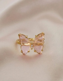 Fashion Pink Resin Diamond Butterfly Alloy Ring