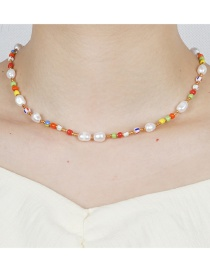 Fashion Color Mixing Natural Freshwater Pearl Rainbow Rice Bead Necklace