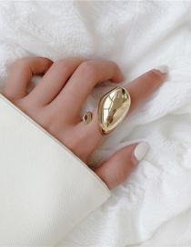 Fashion Golden Metal Smooth Water Drop Open Ring