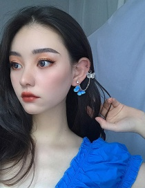 Fashion Blue Butterfly Integrated Chain Ear Clip