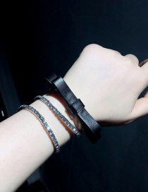 Fashion Black Bowknot Full Diamond Elastic Loop Bracelet